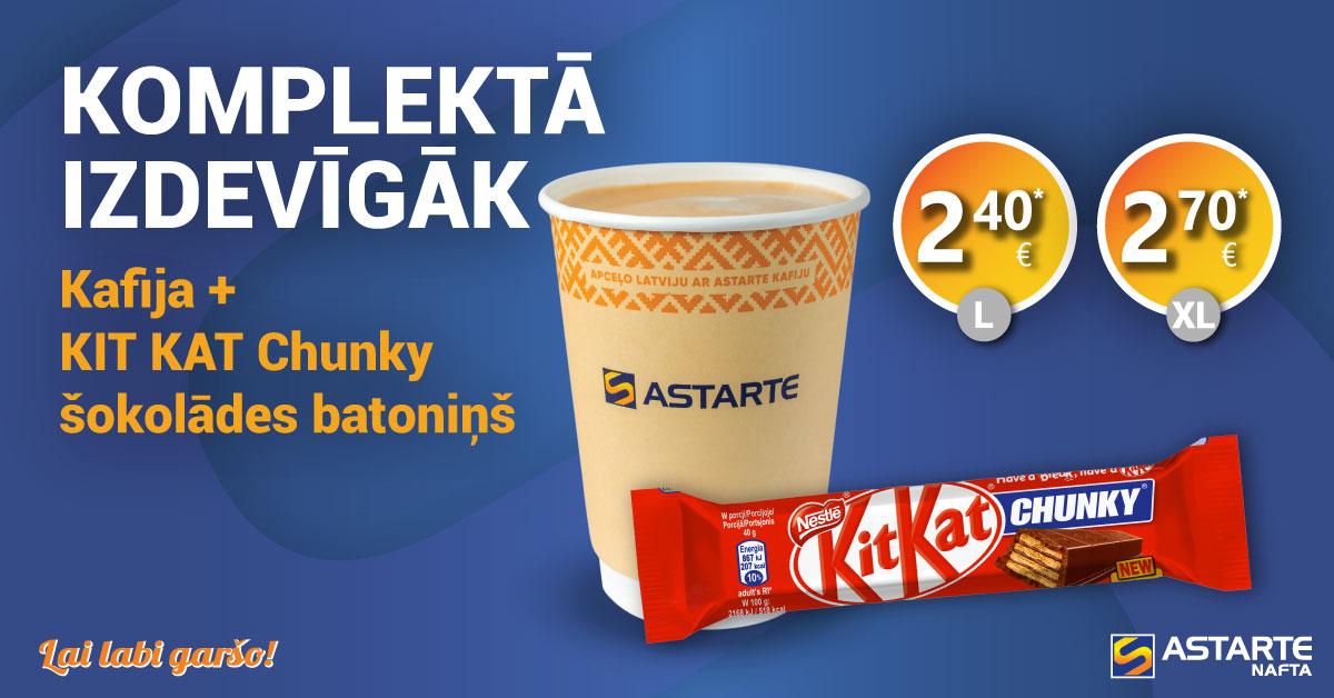 Kafija ar KIT KAT Chunky šokolādes batoniņu