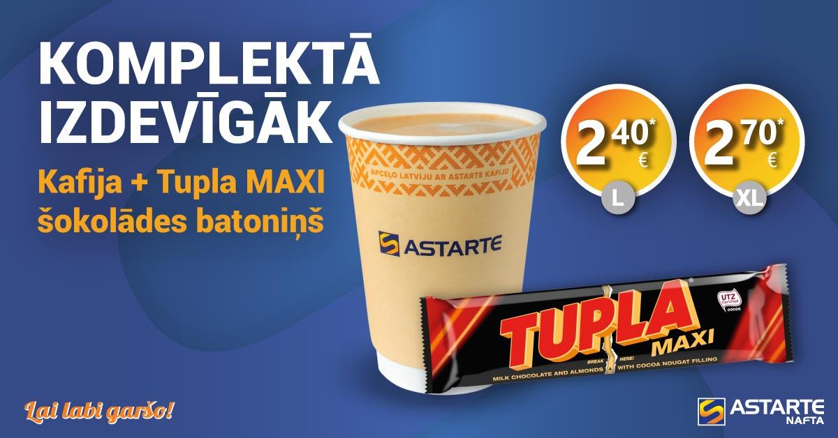 Kafija ar Tupla MAXI šokolādes batoniņu