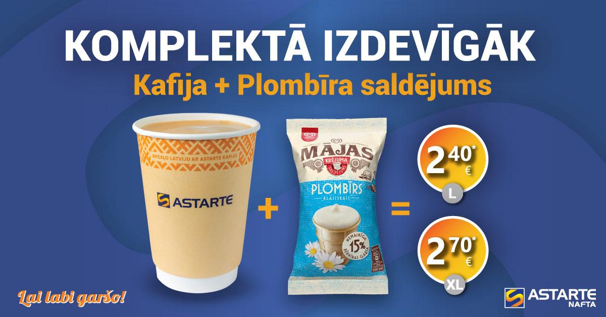 Kafija ar Plombīra saldējumu